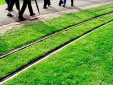 Walkers Along Railway Royalty Free Stock Image