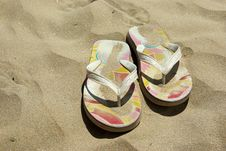 Free Flip-flops On A Beach Stock Photo - 5687190
