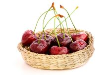 Free Fresh Cherries In A Basket Royalty Free Stock Photos - 5687308