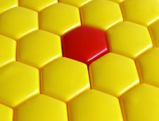 Yellow And Red Hexagons Stock Images