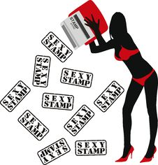 Girl With Stamp Royalty Free Stock Photo