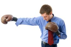 Free Young Business Man Attack. Royalty Free Stock Photos - 5689968