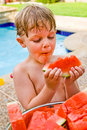 Free Young Boy Enjoying Watermelon. Royalty Free Stock Image - 5695726