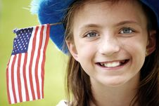 Free Smiling Girl With Flag Stock Image - 5691001
