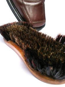 Clean Brush And Brown Men Shoe Stock Images