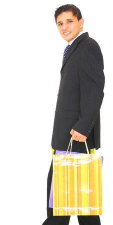 Free Business Man Carrying Shopping Bag Stock Image - 5691301