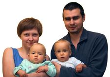 Family Foto With Two Kids Stock Image