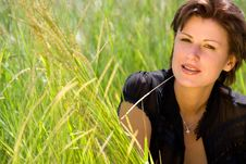 Free Young Caucasian Girl On Green Grass Stock Photo - 5693660