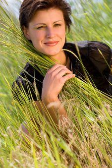 Free Young Caucasian Girl On Green Grass Stock Photos - 5693723