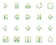 Audio Video Media Icons Set No.2 - Green Royalty Free Stock Image