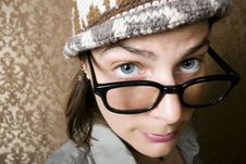 Nerdy Woman In A Knit Cap Stock Images