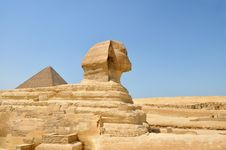 Free The Sphinx , Great Pyramid With Copy-space Stock Photos - 5697863