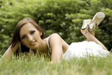 Brunette In The Park Royalty Free Stock Photography