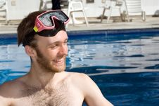 Man Standing In Pool Wearing Goggles - Horizontal Stock Images