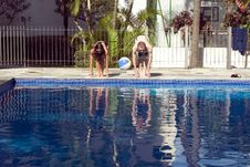 Man And Woman About To Dive Into Pool - Horizontal Royalty Free Stock Images