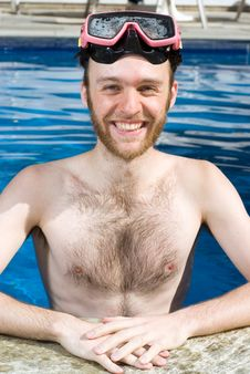 Man Standing In Pool Wearing Goggles - Vertical Royalty Free Stock Photos