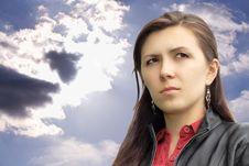 Free Business Woman Against The Sky Stock Photography - 5698752
