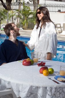 Couple Near Pool - Vertical Stock Photography