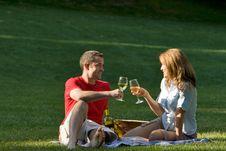 Free Coupe Sitting Together Drinking - Horizontal Stock Image - 5698791