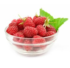 Free Red Raspberry Fruits In Glass Vase Stock Images - 5698904
