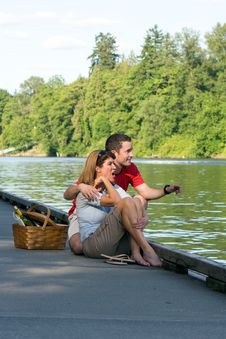 Couple Together On Dock - Vertical Stock Photos