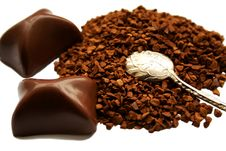 Free Coffee, Spoon And Chocolate Stock Photos - 5699313