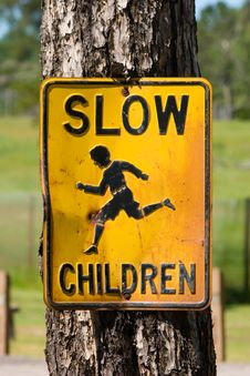 Free Slow Children Street Sign Royalty Free Stock Image - 5699676
