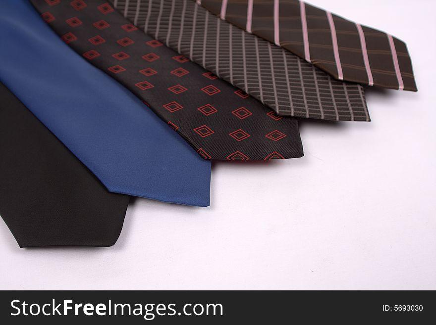 Five neckties in a row