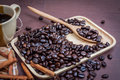 Free Coffee On Grunge Wooden Background Stock Images - 56907964