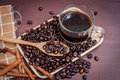 Free Coffee On Grunge Wooden Background Royalty Free Stock Photo - 56909015