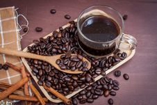 Coffee On Grunge Wooden Background Royalty Free Stock Photo