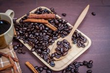 Coffee On Grunge Wooden Background Stock Photography
