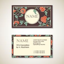 Free Vector Brown Floral Visit Card Template Stock Images - 56939274