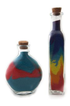 Free Two Bottles With Colorful Sand Stock Photography - 570852