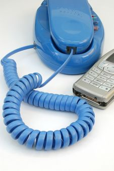 Free Telephone With Mobile Phone Stock Image - 571231