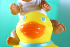 Free Rubber Duck In Bath.Childhood Imagination Still Life. Stock Images - 571584