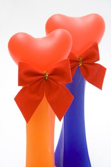Free Two Heart In Vases Royalty Free Stock Photography - 572797