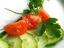 Free Cucumber And Tomatos Royalty Free Stock Image - 573626