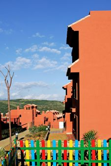 Salmon Or Orange Apartments On Spanish Urbanisation