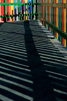 Colour, Shapes And Shadows In A Childrens Playground Stock Photo