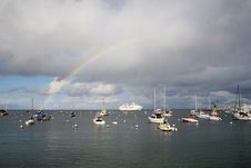 Free Sailboats Under A Rainbow Royalty Free Stock Photos - 577268