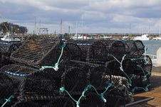 Free Quayside With Lobster Pots Stock Images - 578114