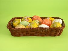 Free Easter Eggs In Wicker Basket Stock Photos - 579963
