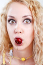 Free Cherry In Mouth Royalty Free Stock Image - 5700396