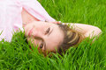 Free Pretty Woman Rest On The Grass Stock Photography - 5707782