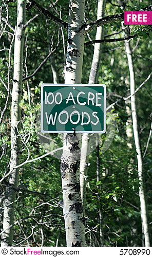 Free 100 Acre Woods Sign Stock Photo - 5708990