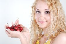 Cherry In Hands Stock Photography