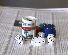 Free Cash Dice And The Share Market Royalty Free Stock Images - 5701119