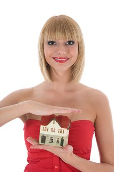 Business Woman Advertises Real Estate On White Royalty Free Stock Photo