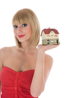Business Woman Advertises Real Estate On White Stock Images